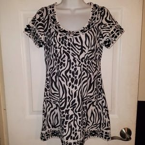 INC Empire Waist Black White Embellished Dress